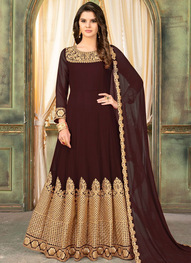 Brown Anarkali Salwar Suit