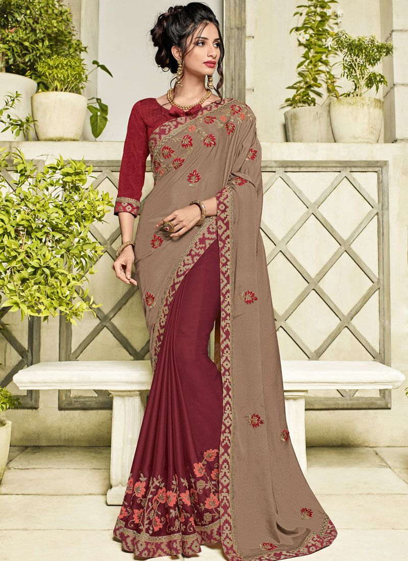 Brown and Maroon Patch Border Party Designer Half N Half Saree