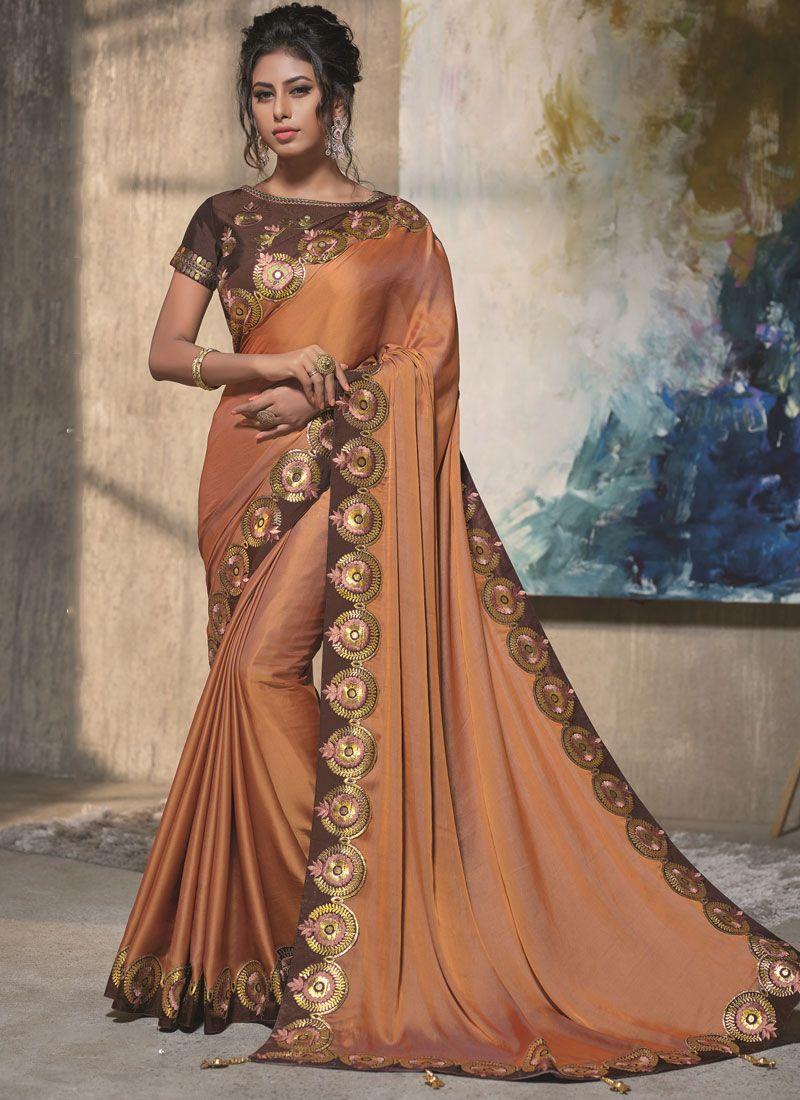 Brown and Orange Resham Satin Silk Designer Traditional Saree