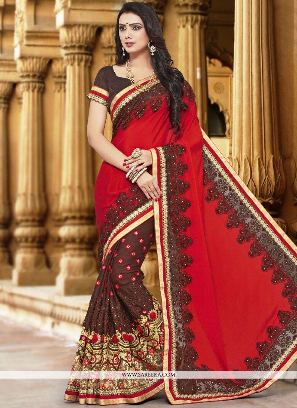 Brown and Red Designer Half N Half Saree