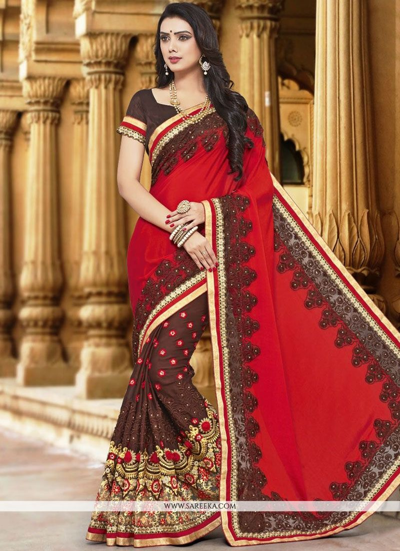 Brown and Red Designer Half N Half Saree