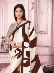 Brown and White Print Satin Silk Casual Saree