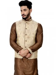 Brown Art Silk Kurta Payjama With Jacket