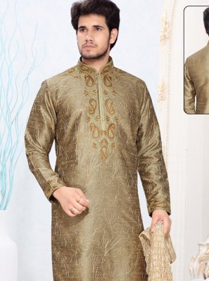 Brown Art Silk Kurta Pyjama with Thread Work