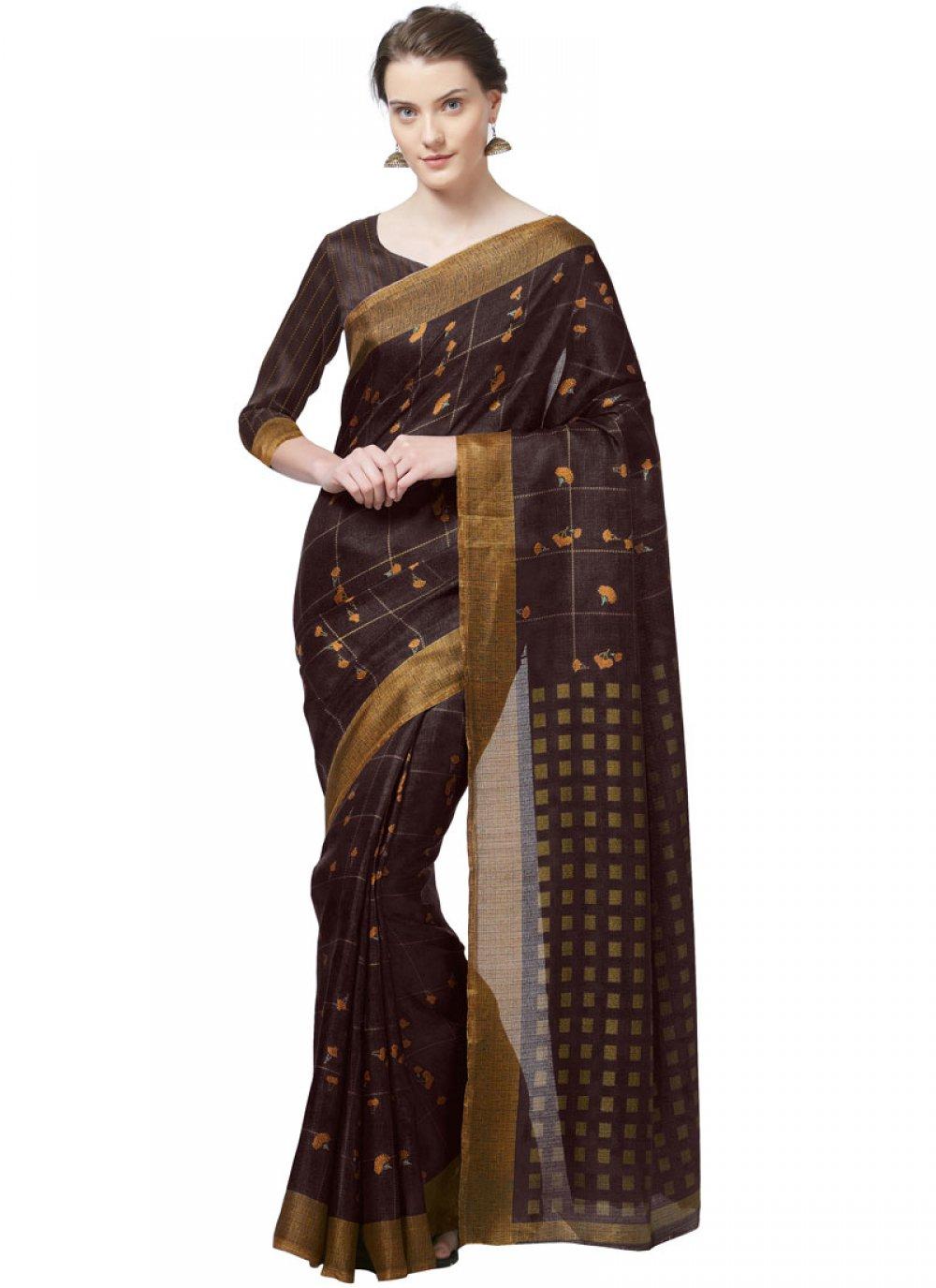 Brown Art Silk Printed Casual Saree