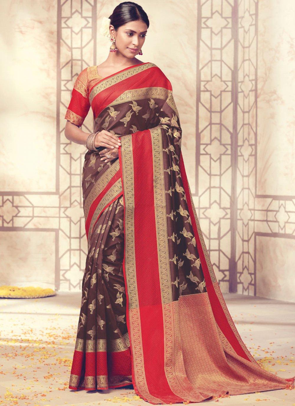 Brown Art Silk Traditional Designer Saree