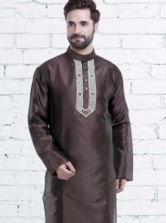 Brown Art Silk Wedding Kurta Pyjama