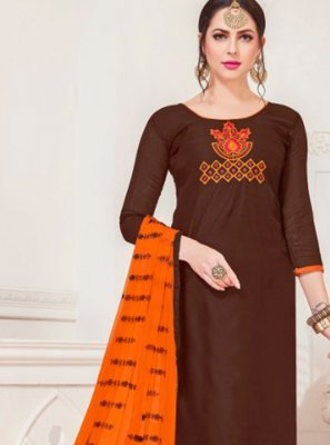 Brown Churidar Salwar Suit