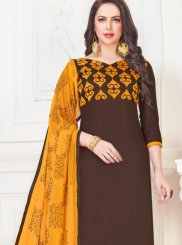 Brown Cotton Satin Churidar Suit