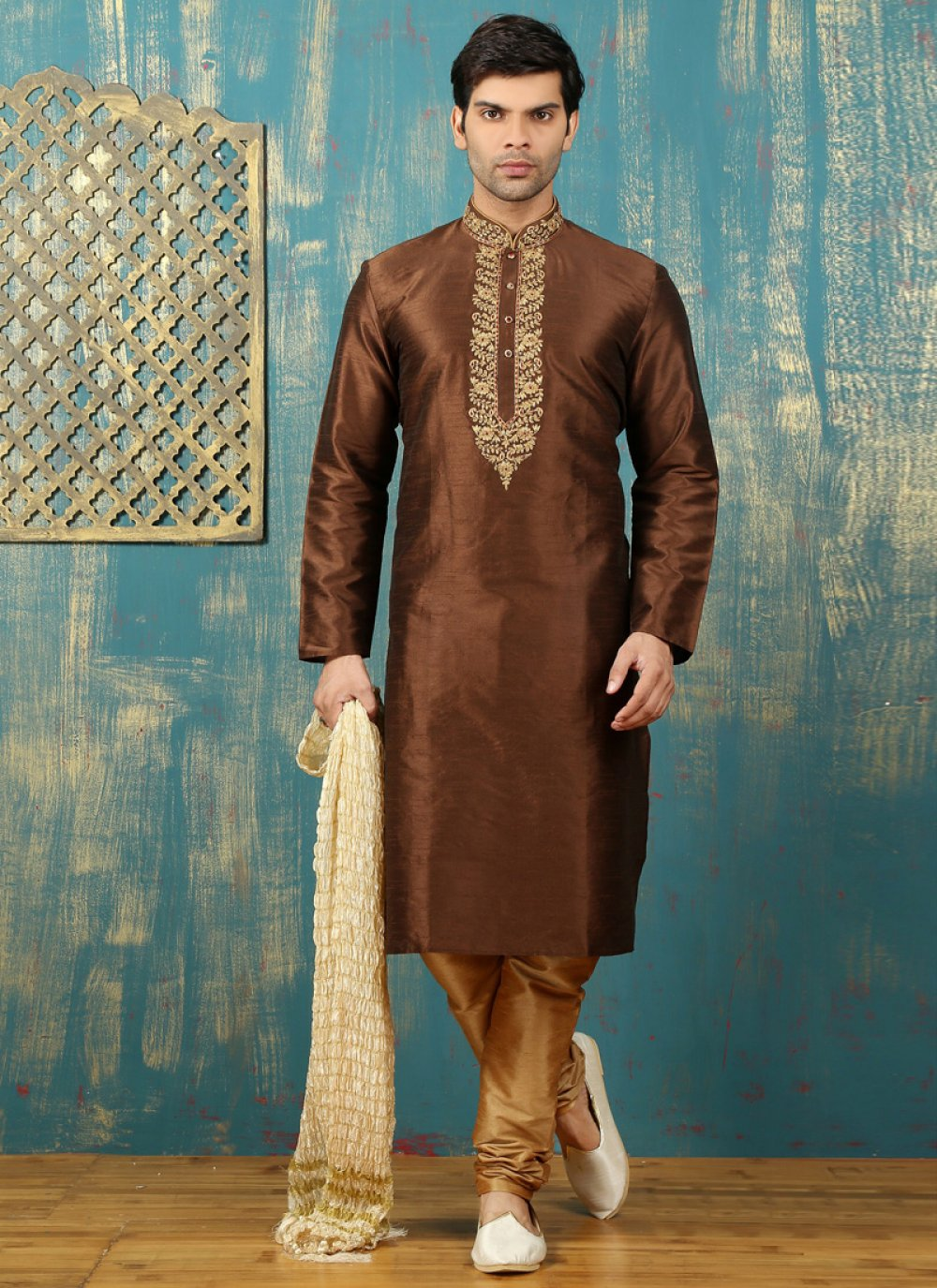 Brown Dupion Silk Kurta Pyjama