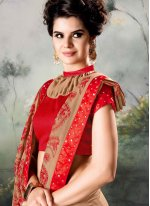 Brown Embroidered Party Classic Saree