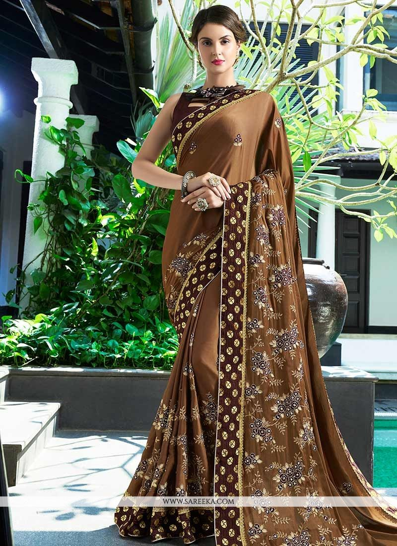Brown Embroidered Work Faux Georgette Classic Saree