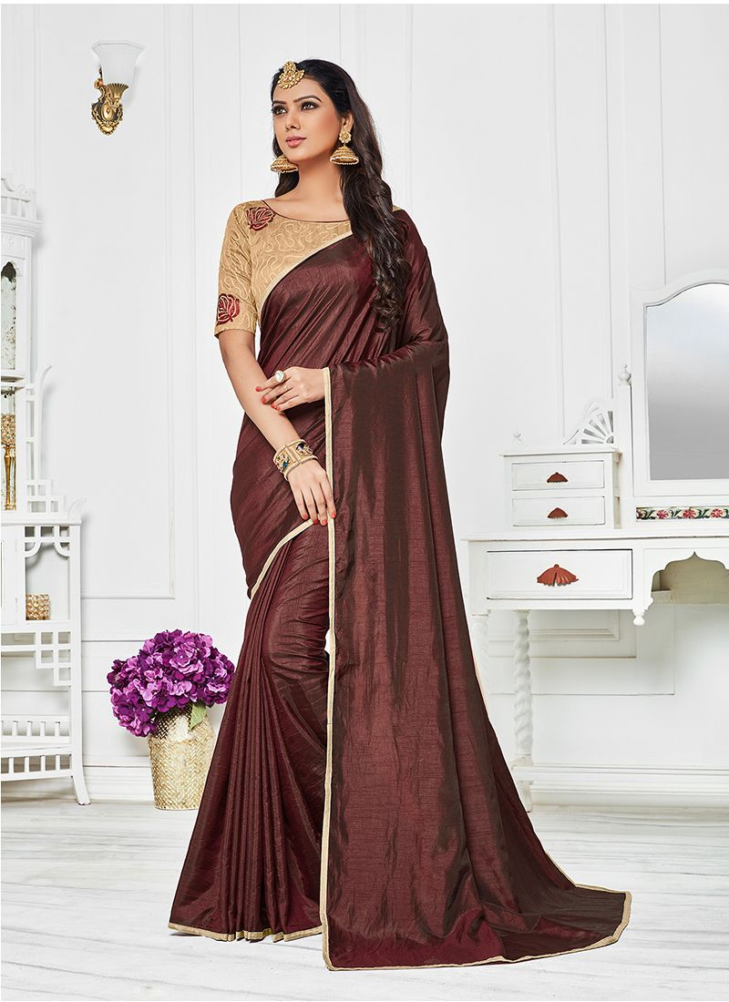 Brown Embroidered Work Silk Saree