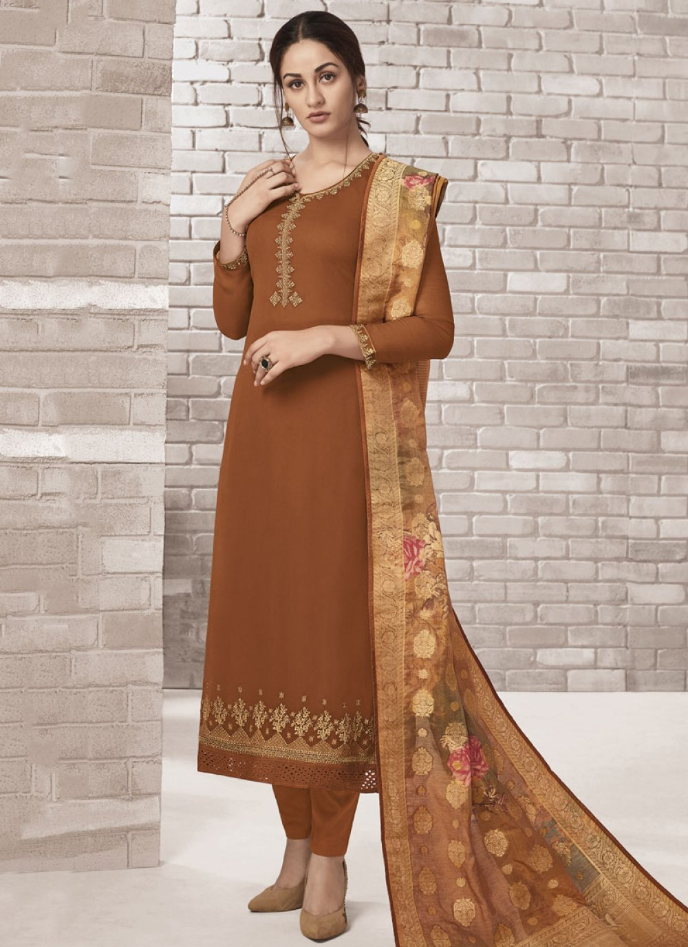 Brown Faux Georgette Churidar Designer Suit