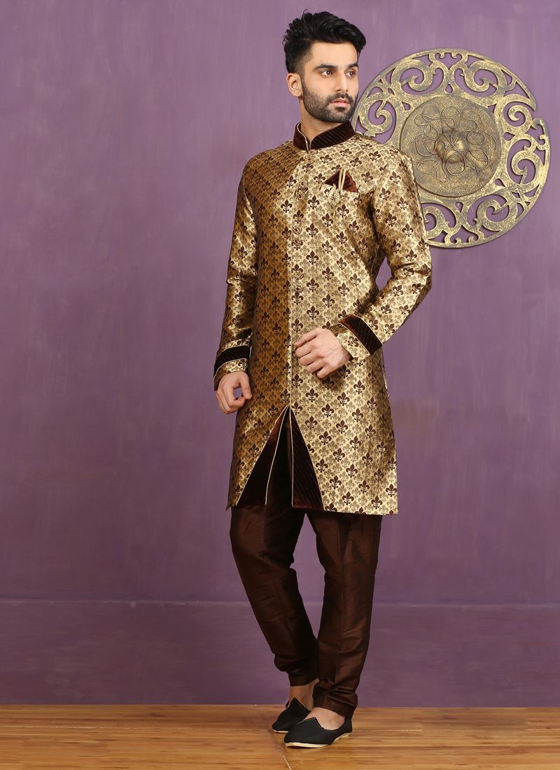Brown Jacquard Silk Embroidered Work Indo Western Sherwani
