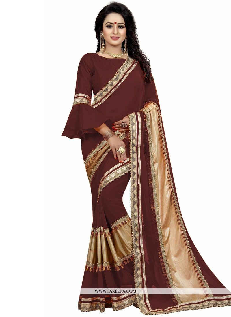 Brown Patch Border Work Designer Traditional Saree