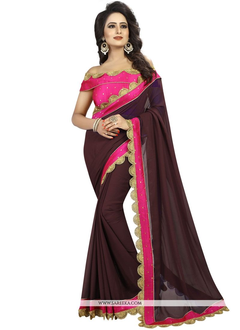 Brown Patch Border Work Faux Georgette Classic Saree
