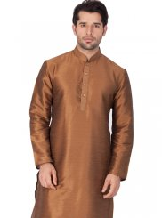 Brown Plain Reception Kurta Pyjama