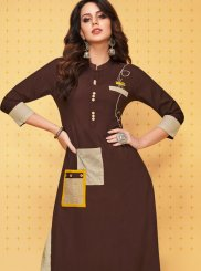 Brown Print Festival Party Wear Kurti