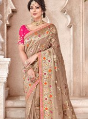 Brown Resham Banarasi Silk Traditional Designer Saree