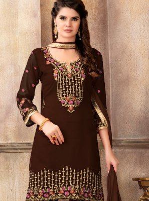 Brown Resham Faux Georgette Designer Pakistani Suit