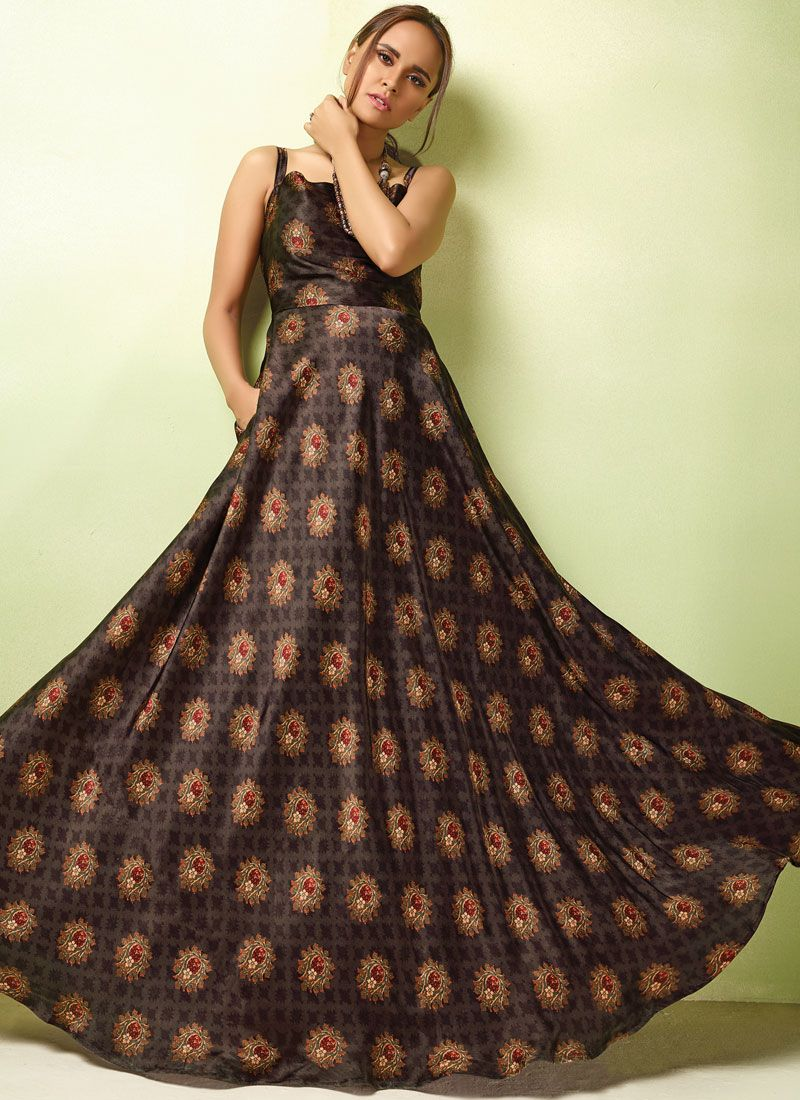 Brown Resham Festival Readymade Gown