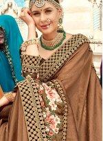 Brown Resham Party Traditional Designer Saree