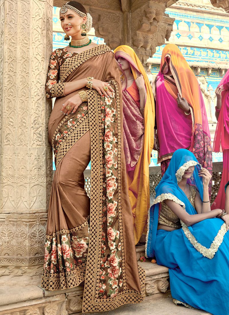 Brown Resham Party Traditional Designer Saree