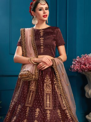 Brown Satin Zari Lehenga Choli