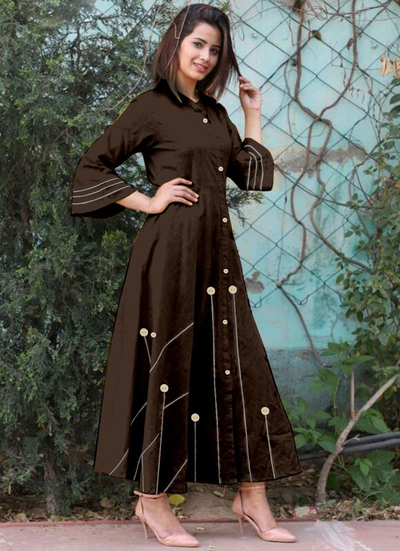 Buttons Work Cotton   Brown Casual Kurti