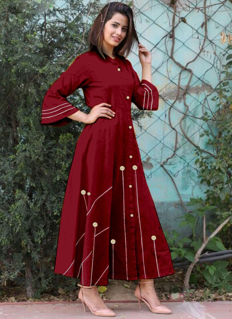 Buttons Work Maroon Casual Kurti