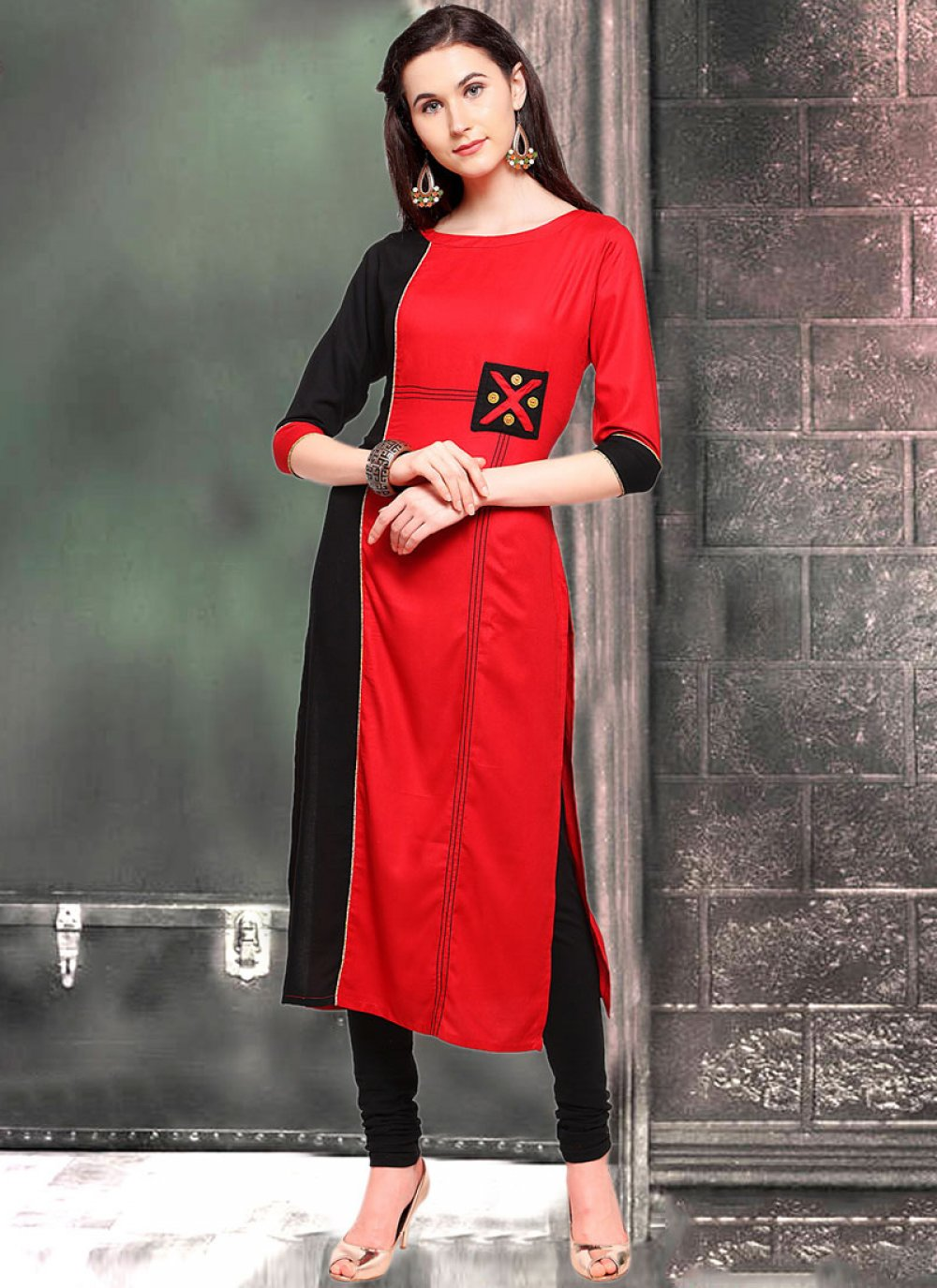 Casual Kurti Fancy Rayon in Black and Red