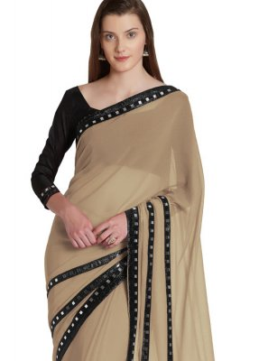 Casual Saree Fancy Faux Chiffon in Beige