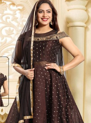 Chanderi Brown Salwar Kameez