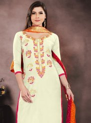 Chanderi Churidar Salwar Suit in Cream