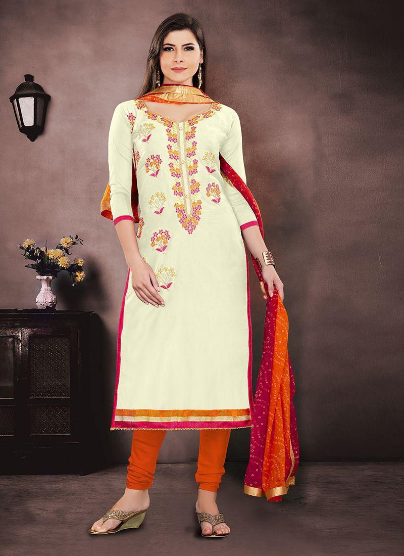 Chanderi Churidar Salwar Suit in Cream