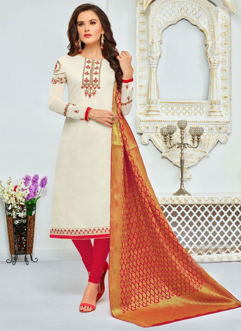 Chanderi Cotton Churidar Salwar Suit