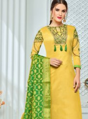 Chanderi Cotton Churidar Salwar Suit