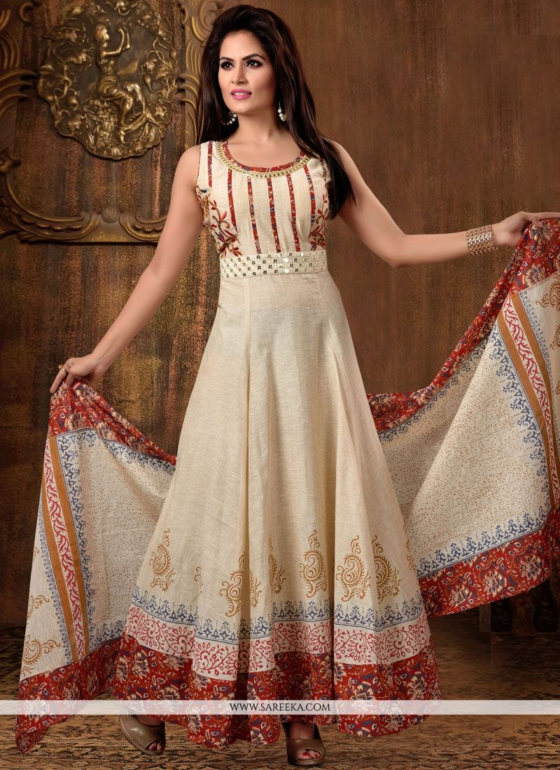 Chanderi Cotton Beige Readymade Anarkali Suit