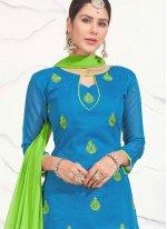 Chanderi Cotton Blue Churidar Suit