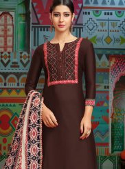 Chanderi Cotton Brown Print Designer Palazzo Suit