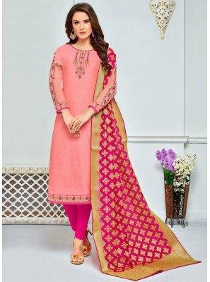 Chanderi Cotton Peach Embroidered Work Churidar Salwar Suit