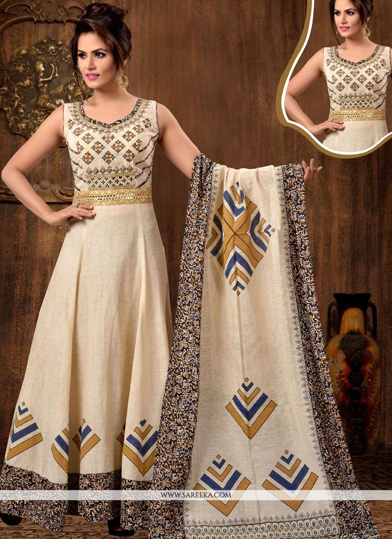Chanderi Cotton Readymade Anarkali Suit