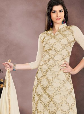 Chanderi Cotton Salwar Kameez in Cream