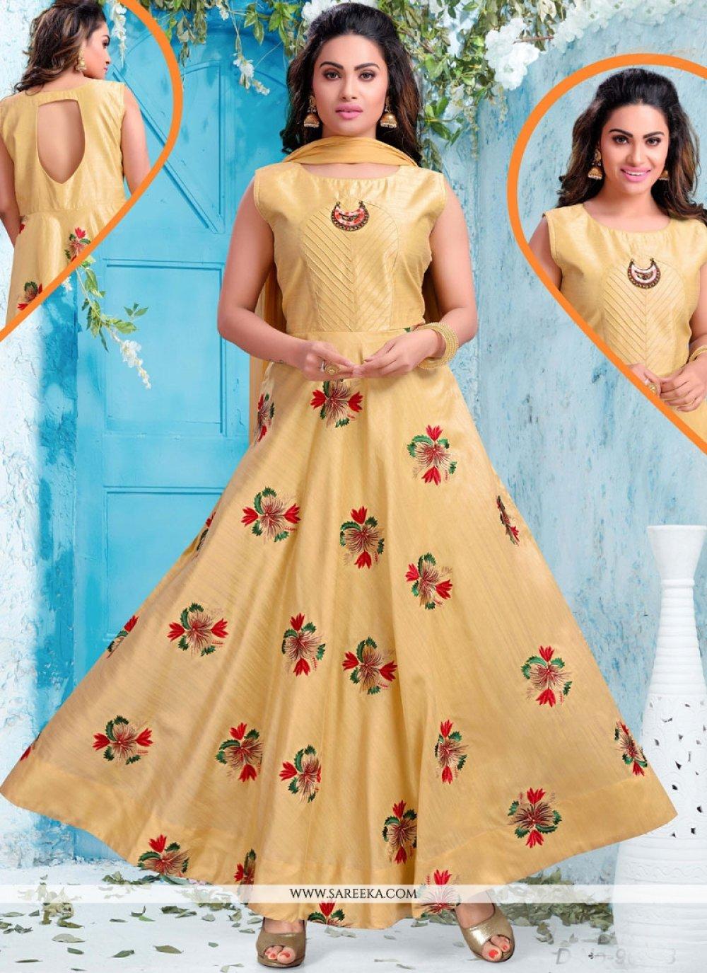 Chanderi Cream Resham Work Readymade Suit