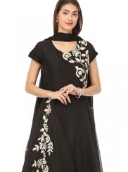 Chanderi Embroidered Black Anarkali Salwar Kameez