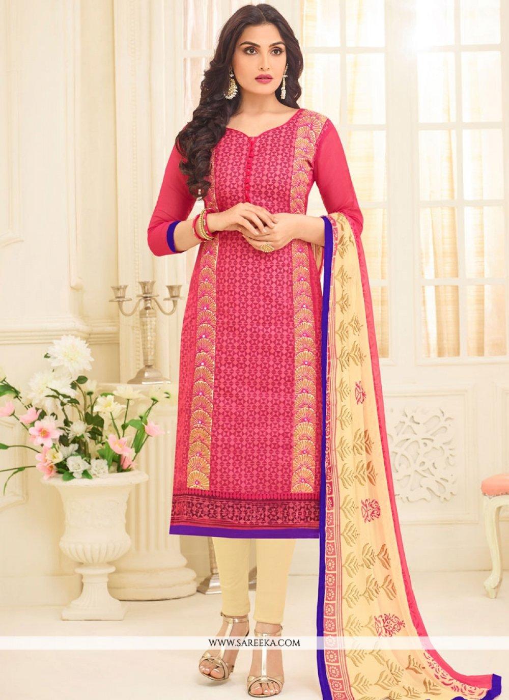 Chanderi Embroidered Work Churidar Suit