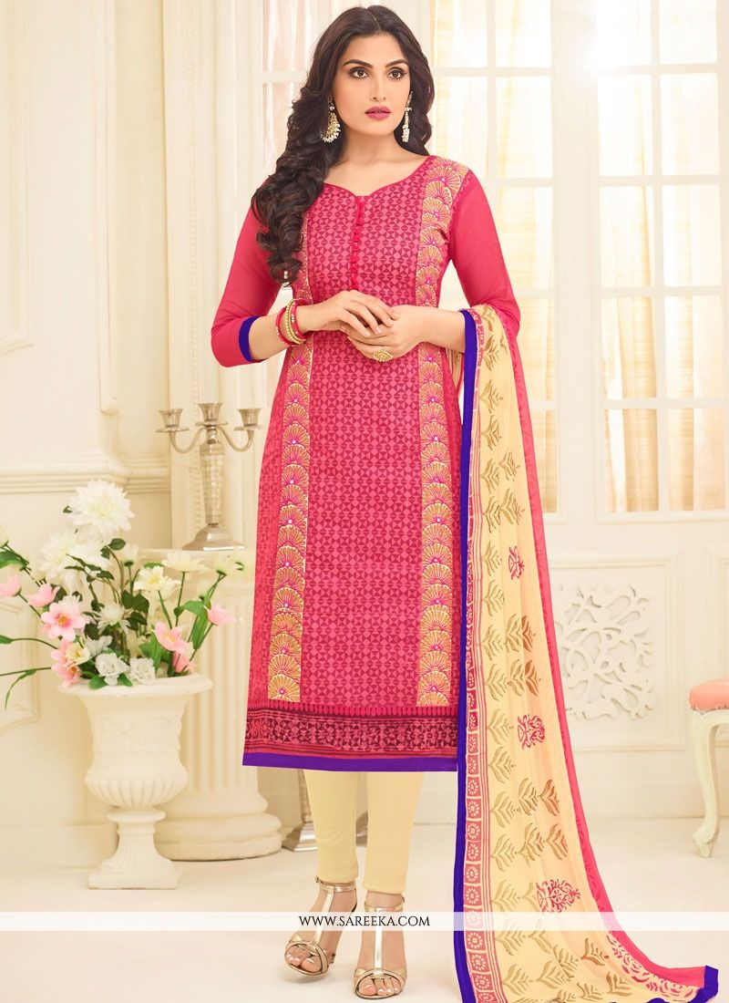Chanderi Embroidered Work Churidar Suit
