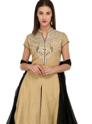 Chanderi Gold Embroidered Anarkali Salwar Suit