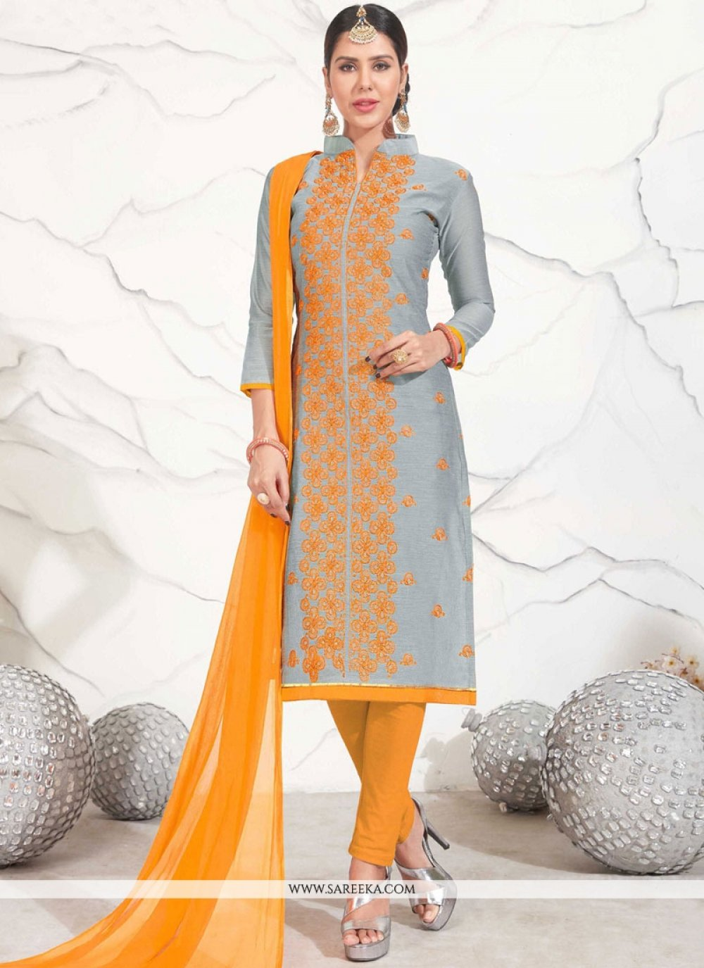Chanderi Grey Churidar Suit